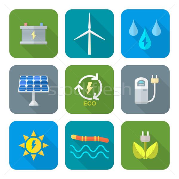 color flat style recycle ecology energy icons Stock photo © TRIKONA