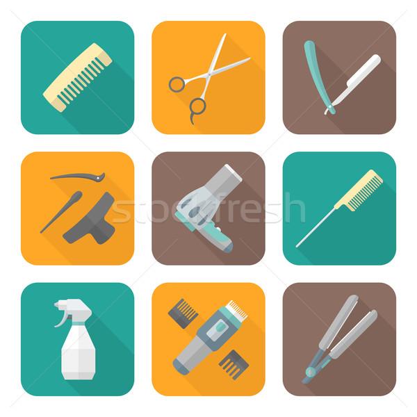 hairdresser tools color flat style icons set Stock photo © TRIKONA