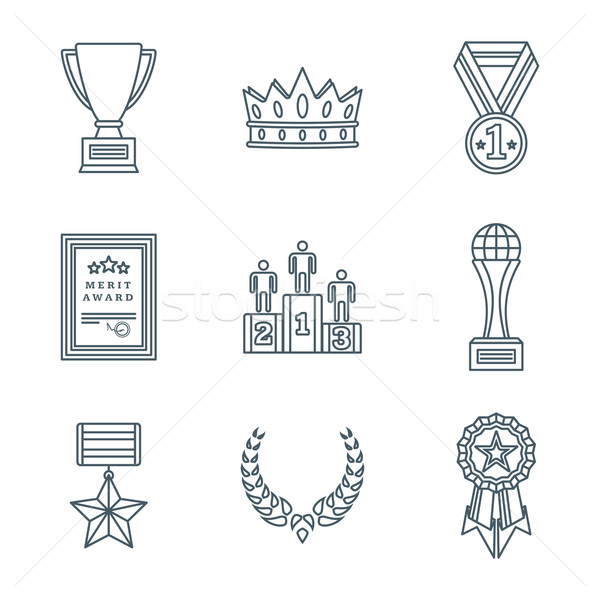 dark color outline various awards symbols icons collection