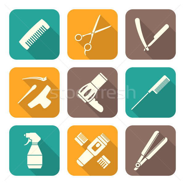 hairdresser tools white flat style icons set Stock photo © TRIKONA