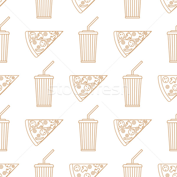 Pizza slice soda bevanda fredda carta Cup contorno Foto d'archivio © TRIKONA