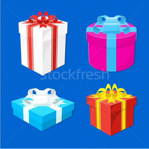 set of gift boxes Stock photo © TRIKONA