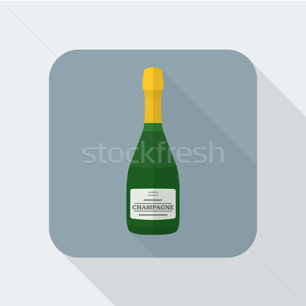 Stylu szampana butelki ikona cień wektora Zdjęcia stock © TRIKONA