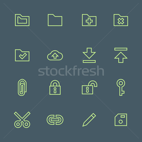 green outline various file actions icons set Stock photo © TRIKONA