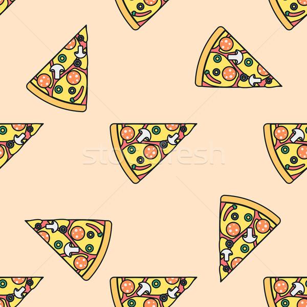 Pizza slice gekleurd vector driehoek champignons Stockfoto © TRIKONA