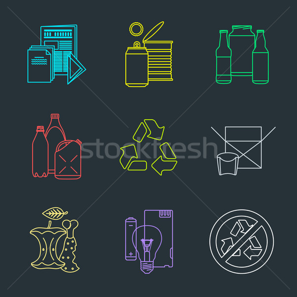 vector recycle waste segregation icons