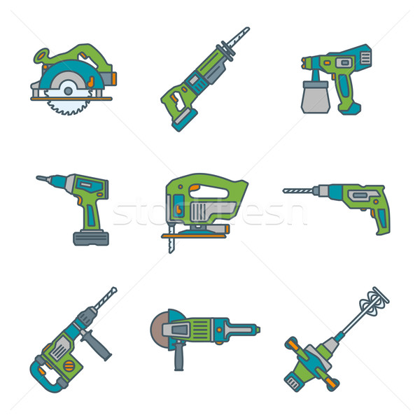 color outline house remodel power tools icons Stock photo © TRIKONA