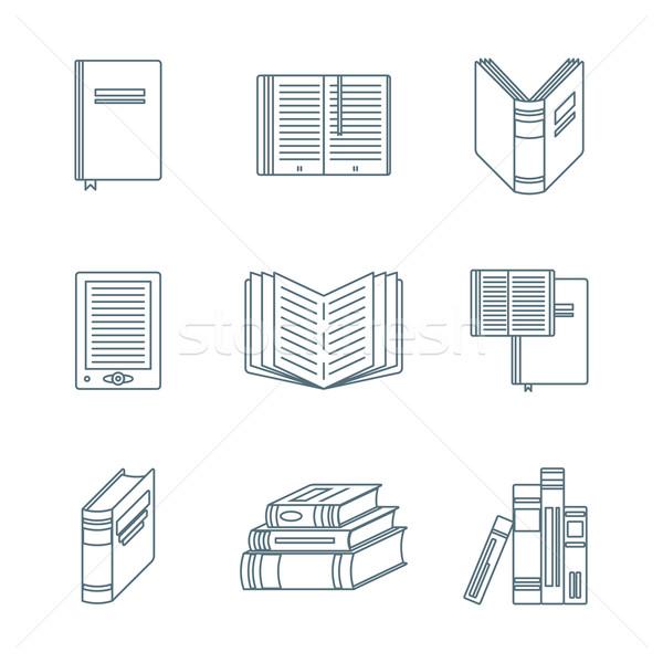 dark outline books icons set Stock photo © TRIKONA