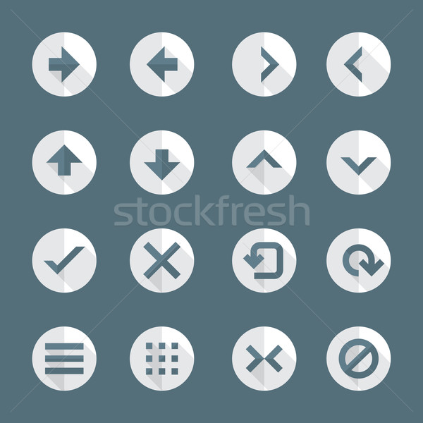 flat style various navigation menu buttons icons set Stock photo © TRIKONA