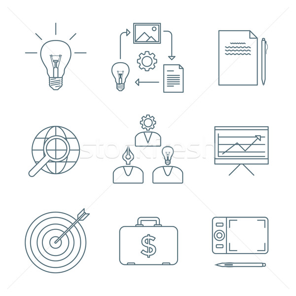 dark outline creative business process icons set