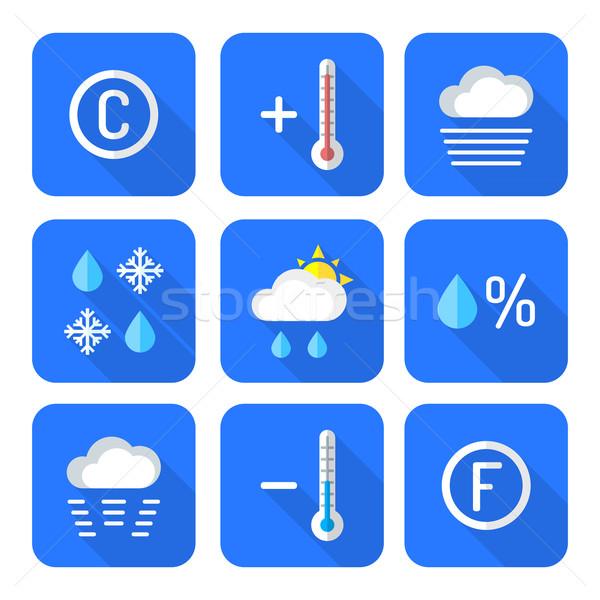 colored flat style weather forecast icons set Stock photo © TRIKONA
