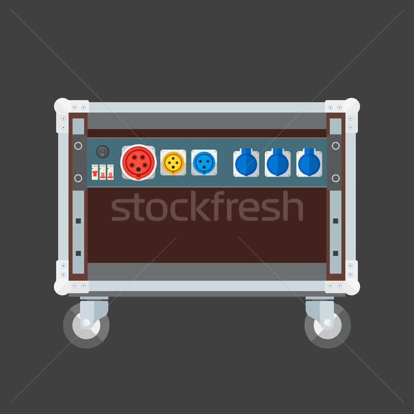 flat style colored concert stage rack box power sockets panel il Stock photo © TRIKONA