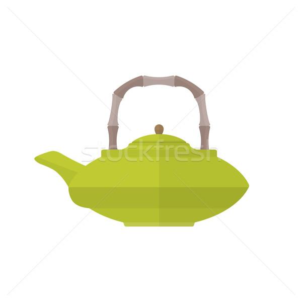 Színes ázsiai teáskanna illusztráció vektor zöld Stock fotó © TRIKONA