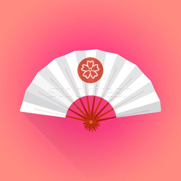 flat style white color japanese style hand fan illustration Stock photo © TRIKONA