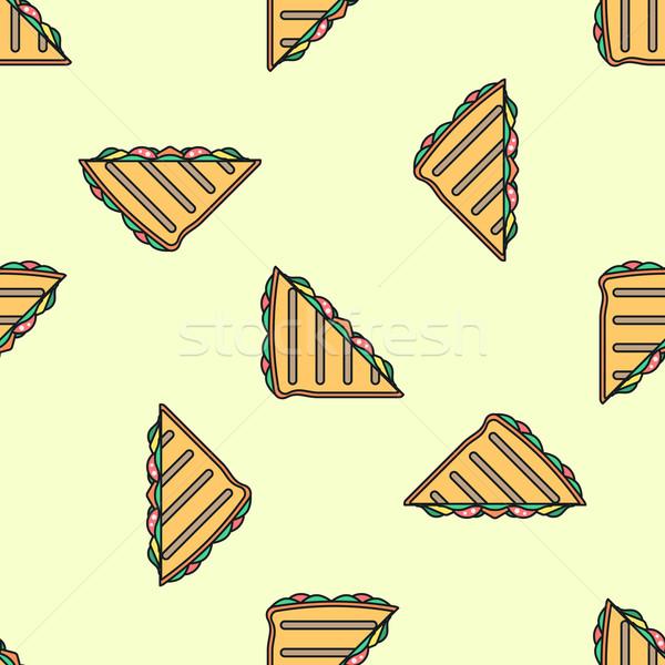Klub szendvics színes végtelen minta vektor skicc világoszöld Stock fotó © TRIKONA