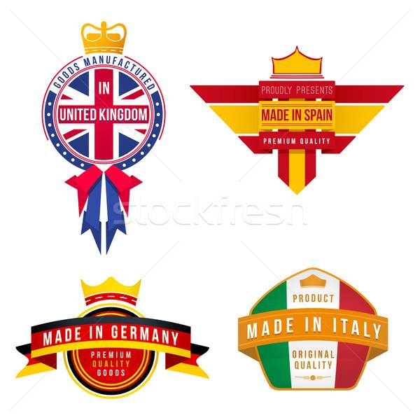 Royaume-Uni Allemagne Espagne Italie badges Photo stock © TRIKONA