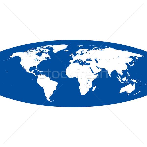 Gömb alakú vektor világtérkép fehér kék világ Stock fotó © TRIKONA
