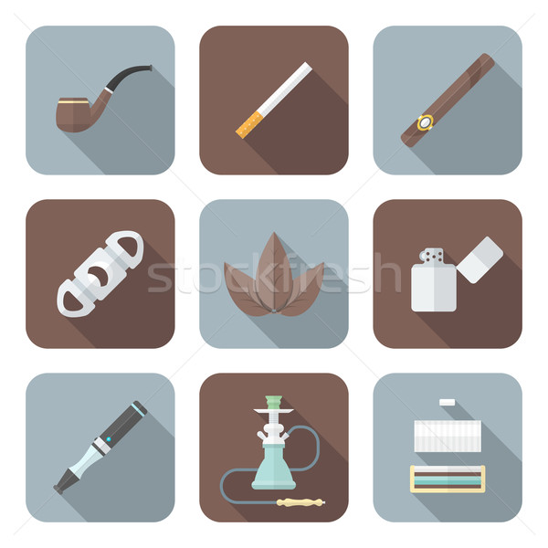 colored flat style various tobacco goods tools icons set Stock photo © TRIKONA