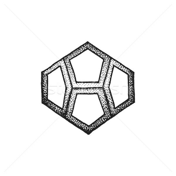 hand drawn dotted style polyhedron illustration Stock photo © TRIKONA