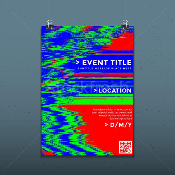 vector glitch background poster template Stock photo © TRIKONA