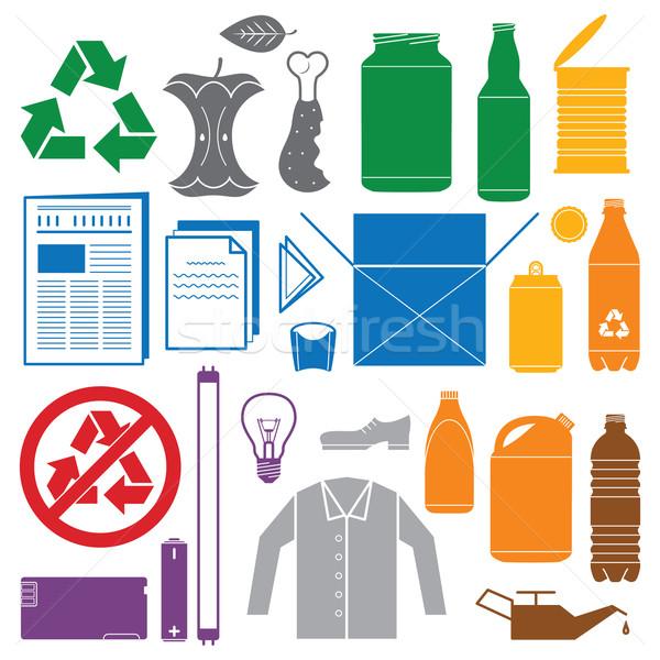 Reciclaje residuos color iconos vector Foto stock © TRIKONA