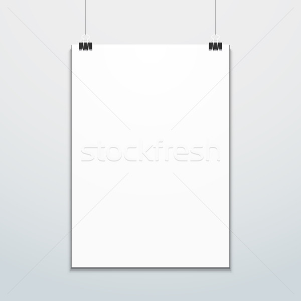Stock photo: vertical poster suspended on office clips mockup
