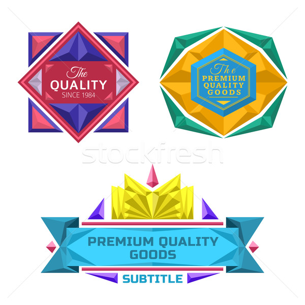 set of retro badge jewel labels and logo Stock photo © TRIKONA