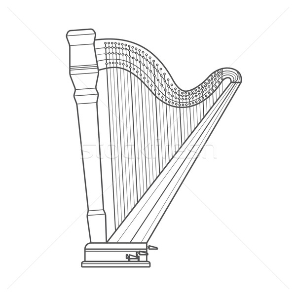 dark outline pedal harp technical illustration Stock photo © TRIKONA