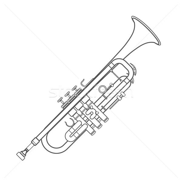 dark monochrome contour trumpet wind instrument illustration Stock photo © TRIKONA