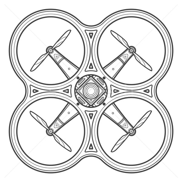 vector outline quadcopter drone illustration Stock photo © TRIKONA