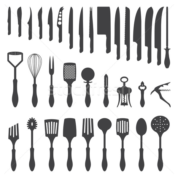 dinner cutlery silhouette set Stock photo © TRIKONA