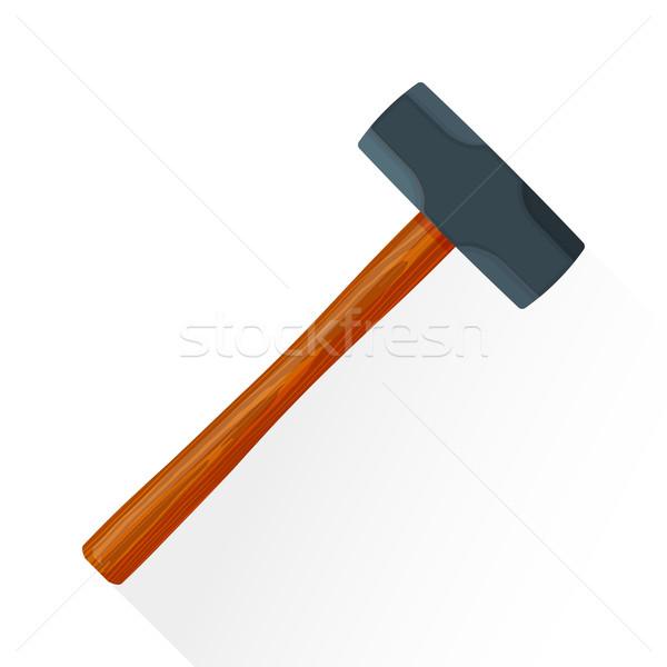 vector flat sledgehammer illustration icon Stock photo © TRIKONA