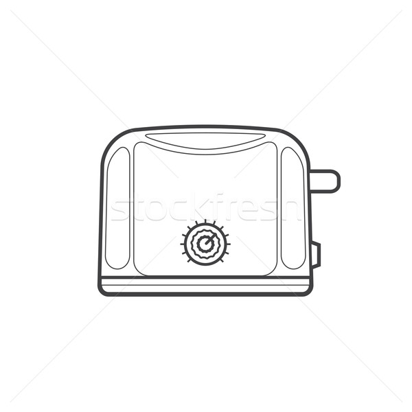 кухне тостер иллюстрация вектора монохромный Сток-фото © TRIKONA