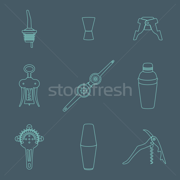 outline icons barman instruments set