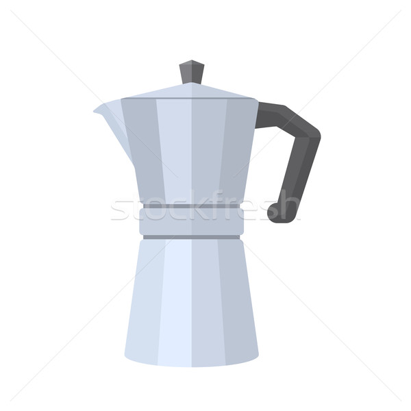 colored flat style metal faceted coffee pot illustration