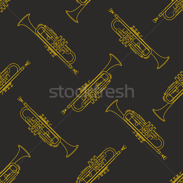 классическая музыка вектора монохромный золото трубы Сток-фото © TRIKONA