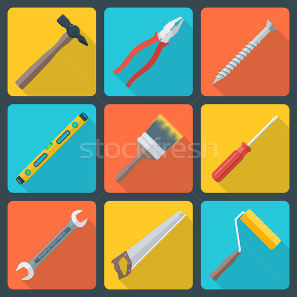 flat house remodel tools icons Stock photo © TRIKONA