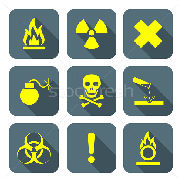 bright yellow color flat style hazardous waste symbols warning s Stock photo © TRIKONA