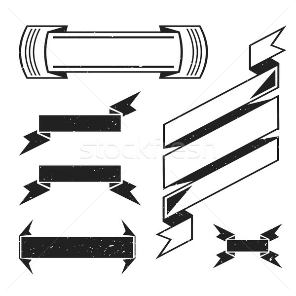 vector monochrome retro ribbons set Stock photo © TRIKONA