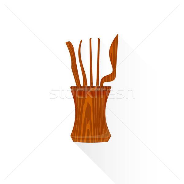vector flat Chinese tea tools illustration icon Stock photo © TRIKONA