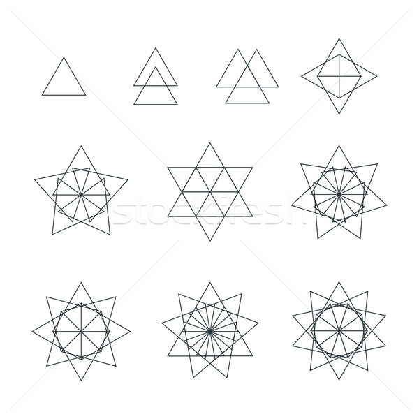 triangle contour various sacred geometry set