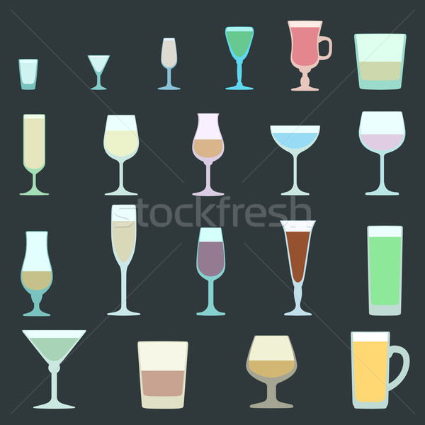 solid colors alcohol glasses set Stock photo © TRIKONA