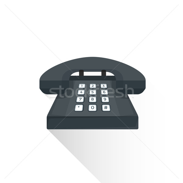 Vektor stílus retro fekete gombok telefon Stock fotó © TRIKONA