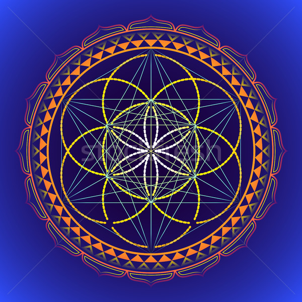 Szín mandala szent mértan illusztráció vektor Stock fotó © TRIKONA