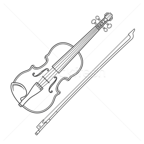 dark contour vector fiddle violin Stock photo © TRIKONA