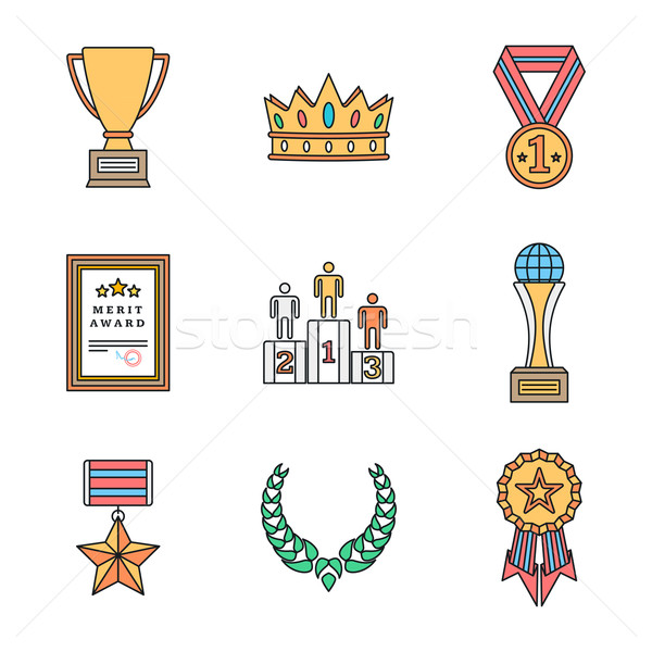 colored outline various awards symbols icons collection