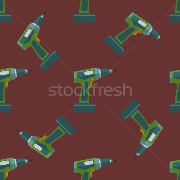 vector electric screwdriver seamless pattern Stock photo © TRIKONA