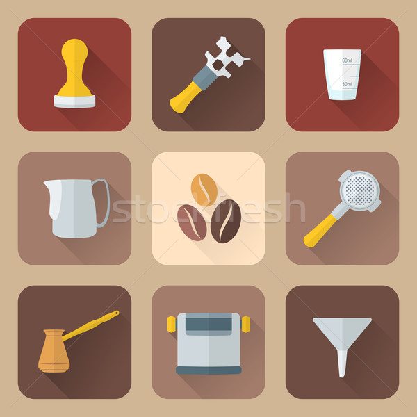 flat style coffee barista instruments icons set Stock photo © TRIKONA