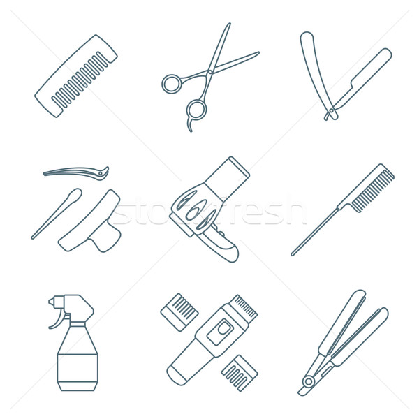 hairdresser tools dark color outline icons set Stock photo © TRIKONA