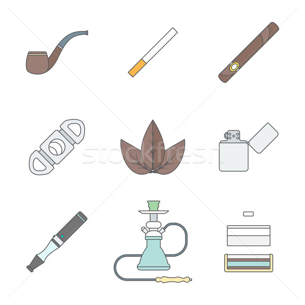 colored outline various tobacco goods tools icons set Stock photo © TRIKONA